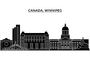 Canada, Winnipeg architecture vector city skyline, travel cityscape with landmarks, buildings, isolated sights on background