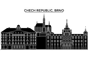 Chech Republic, Brno architecture vector city skyline, travel cityscape with landmarks, buildings, isolated sights on background