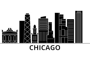 Chicago architecture vector city skyline, travel cityscape with landmarks, buildings, isolated sights on background