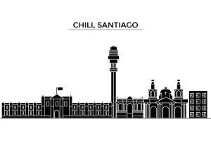 Chili, Santiago architecture vector city skyline, travel cityscape with landmarks, buildings, isolated sights on background