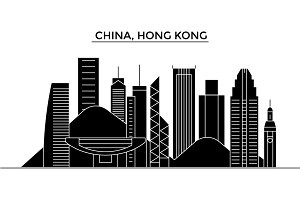 China, Hong Kong architecture vector city skyline, travel cityscape with landmarks, buildings, isolated sights on background