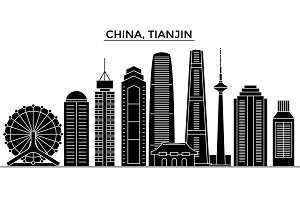 China, Tianjin architecture vector city skyline, travel cityscape with landmarks, buildings, isolated sights on background
