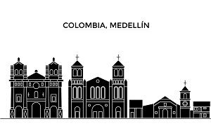 Colombia, Medellin architecture vector city skyline, black cityscape with landmarks, isolated sights on background