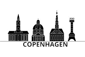 Copenhagen architecture vector city skyline, travel cityscape with landmarks, buildings, isolated sights on background