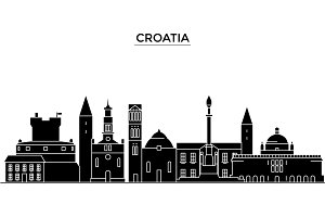 Croatia architecture vector city skyline, travel cityscape with landmarks, buildings, isolated sights on background