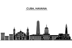 Cuba, Havana architecture vector city skyline, travel cityscape with landmarks, buildings, isolated sights on background