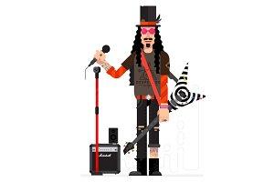 Rock musician in vector.