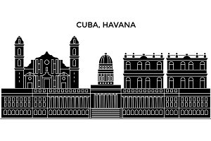 Cuba, Havana City architecture vector city skyline, travel cityscape with landmarks, buildings, isolated sights on background