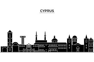 Cyprus architecture vector city skyline, travel cityscape with landmarks, buildings, isolated sights on background