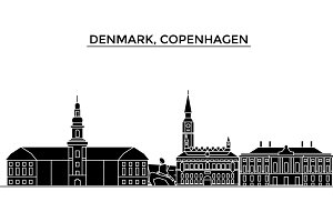 Denmark, Copenhagen architecture vector city skyline, travel cityscape with landmarks, buildings, isolated sights on background