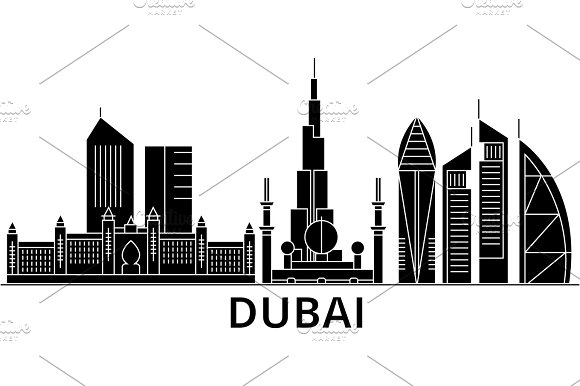 Dubai Architecture Vector City Skyline Travel Cityscape With Landmarks Buildings Isolated Sights On Background