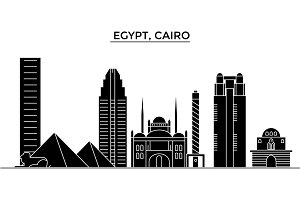 Egypt, Cairo architecture vector city skyline, travel cityscape with landmarks, buildings, isolated sights on background