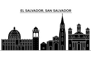 El Salvador, San Salvador architecture vector city skyline, travel cityscape with landmarks, buildings, isolated sights on background