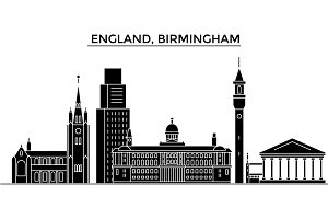 England, Birmingham architecture vector city skyline, travel cityscape with landmarks, buildings, isolated sights on background