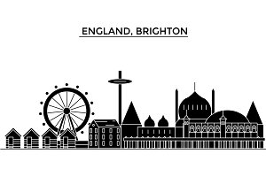 England, Brighton architecture vector city skyline, travel cityscape with landmarks, buildings, isolated sights on background