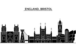 England, Bristol architecture vector city skyline, travel cityscape with landmarks, buildings, isolated sights on background