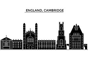 England, Cambridge architecture vector city skyline, travel cityscape with landmarks, buildings, isolated sights on background