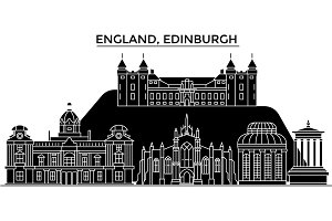 England, Edinburgh architecture vector city skyline, travel cityscape with landmarks, buildings, isolated sights on background