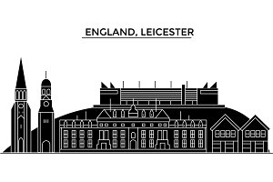 England, Leicester architecture vector city skyline, travel cityscape with landmarks, buildings, isolated sights on background