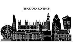 England, London architecture vector city skyline, travel cityscape with landmarks, buildings, isolated sights on background