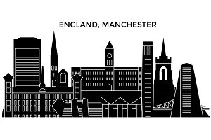 England, Manchester architecture vector city skyline, travel cityscape with landmarks, buildings, isolated sights on background