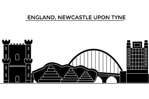 England, Newcastle Upon Tyne architecture vector city skyline, travel cityscape with landmarks, buildings, isolated sights on background