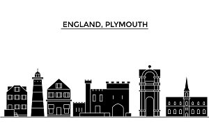 England, Plymouth architecture vector city skyline, travel cityscape with landmarks, buildings, isolated sights on background