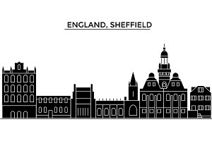England, Sheffield architecture vector city skyline, travel cityscape with landmarks, buildings, isolated sights on background