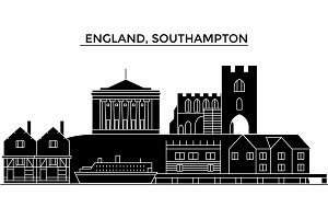 England, Southampton architecture vector city skyline, travel cityscape with landmarks, buildings, isolated sights on background