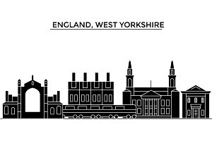 England, West Yorkshire architecture vector city skyline, travel cityscape with landmarks, buildings, isolated sights on background