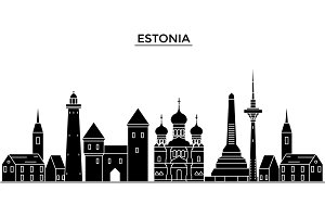 Estonia, Talinn architecture vector city skyline, travel cityscape with landmarks, buildings, isolated sights on background