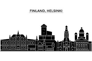 Finland, Helsinki architecture vector city skyline, travel cityscape with landmarks, buildings, isolated sights on background
