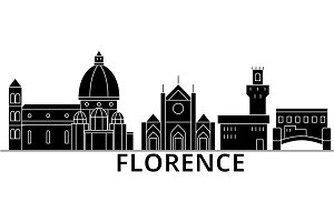 Florence architecture vector city skyline, travel cityscape with landmarks, buildings, isolated sights on background