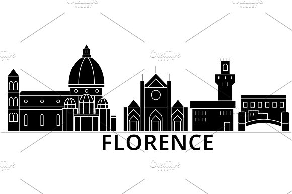 Florence Architecture Vector City Skyline Travel Cityscape With Landmarks Buildings Isolated Sights On Background