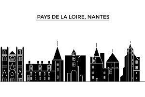 France,  Pays De La Loire, Nantes architecture vector city skyline, travel cityscape with landmarks, buildings, isolated sights on background