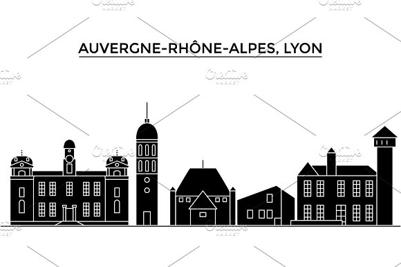 France Auvergne Rhone Alpes Lyon Architecture Vector City Skyline Travel Cityscape With Landmarks Buildings Isolated Sights On Background
