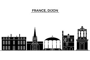 France, Bourgogne Franche Comte, Dijon architecture vector city skyline, travel cityscape with landmarks, buildings, isolated sights on background