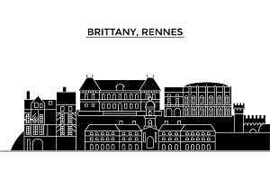 France, Brittany, Rennes architecture vector city skyline, travel cityscape with landmarks, buildings, isolated sights on background