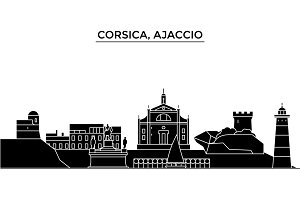 France, Corsica, Ajaccio architecture vector city skyline, travel cityscape with landmarks, buildings, isolated sights on background
