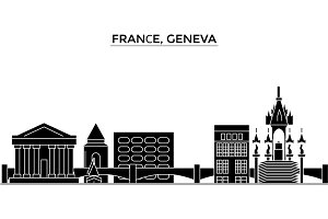 France, Geneva architecture vector city skyline, travel cityscape with landmarks, buildings, isolated sights on background