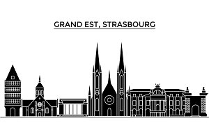 France, Grand Est, Strasbourg architecture vector city skyline, travel cityscape with landmarks, buildings, isolated sights on background