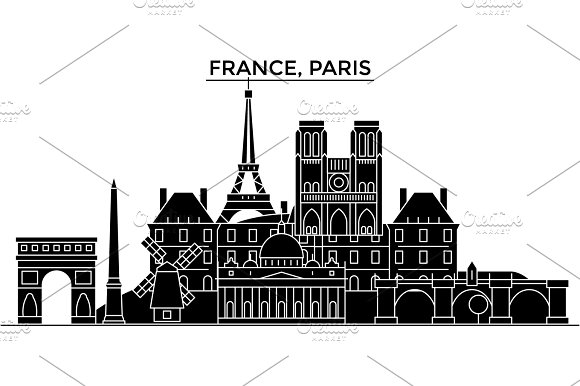 France Ile De France Paris Architecture Vector City Skyline Travel Cityscape With Landmarks Buildings Isolated Sights On Background