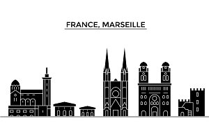 France, Marseille architecture vector city skyline, travel cityscape with landmarks, buildings, isolated sights on background