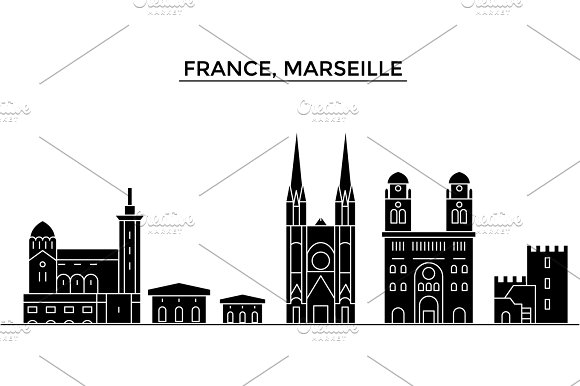 France Marseille Architecture Vector City Skyline Travel Cityscape With Landmarks Buildings Isolated Sights On Background