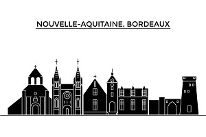 France, Nouvelle Aquitaine, Bordeaux architecture vector city skyline, travel cityscape with landmarks, buildings, isolated sights on background