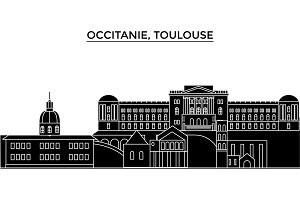 France, Occitanie, Toulouse architecture vector city skyline, travel cityscape with landmarks, buildings, isolated sights on background