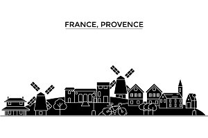 France, Provence architecture vector city skyline, travel cityscape with landmarks, buildings, isolated sights on background