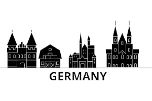 Germany architecture vector city skyline, travel cityscape with landmarks, buildings, isolated sights on background