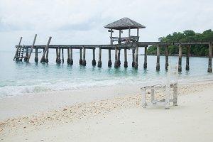White wooden beach chair.