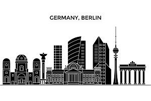 Germany, Berlin architecture vector city skyline, travel cityscape with landmarks, buildings, isolated sights on background